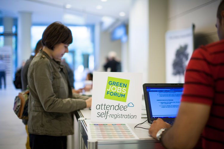Attendee self-registration at the Green Jobs Forum